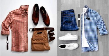 Coordination of university clothes for men, shirts, pants, and shoes